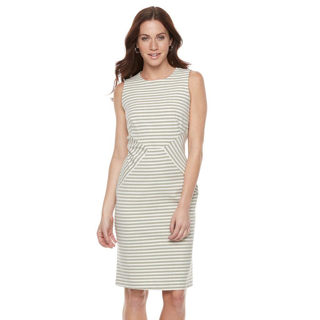 Women's Sharagano Pieced Stripe Midi Sheath Dress