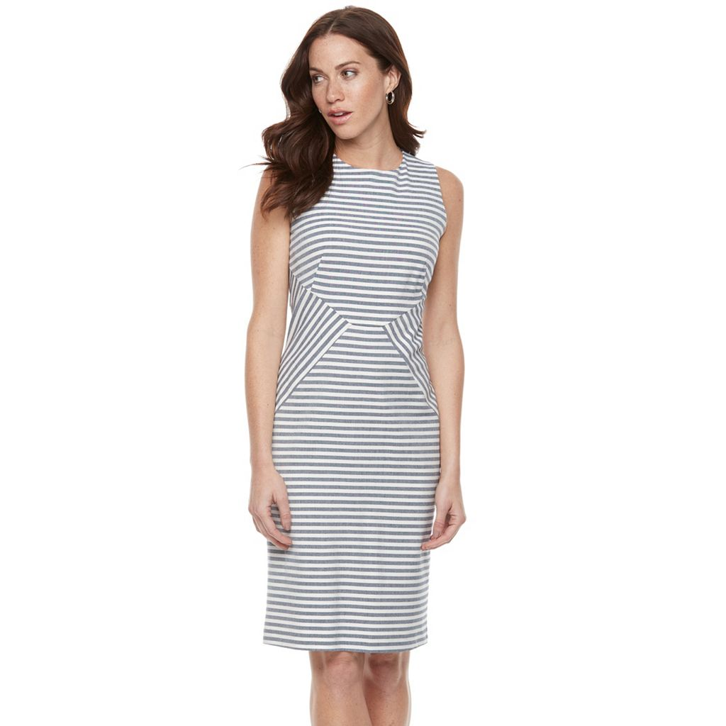 Women's Sharagano Pieced Stripe Midi Sheath Dress