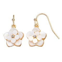 LC Lauren Conrad Mother-of-Pearl Tiered Flower Nickel Free Drop Earrings