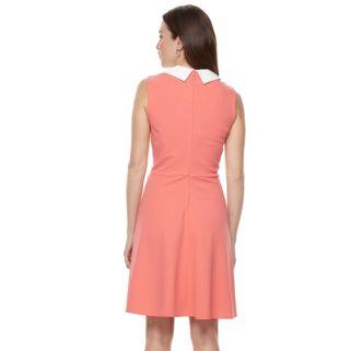 Women's Sharagano Peter Pan Collar Fit & Flare Dress