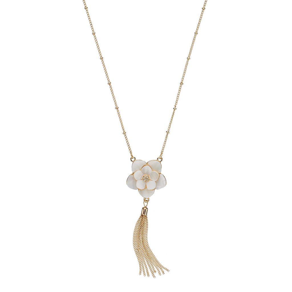 LC Lauren Conrad Long Mother-of-Pearl Flower Tassel Necklace