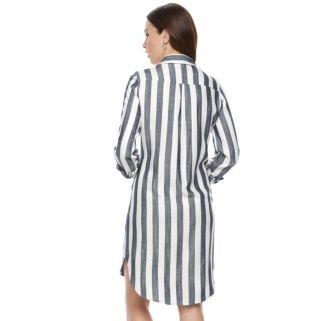 Women's Sharagano Striped Roll-Tab Shirtdress