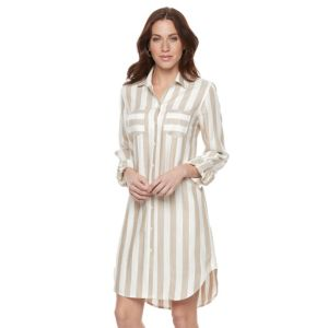 Women's Sharagano Striped Roll-Tab Shirtdress