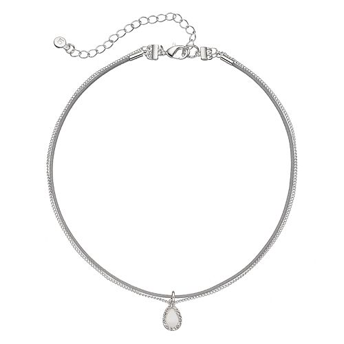 LC Lauren Conrad Mother-of-Pearl Teardrop Double Strand Choker Necklace