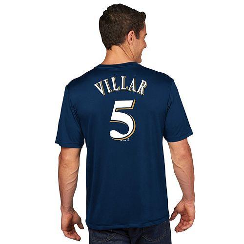 Men's Majestic Milwaukee Brewers Jonathan Villar Player Name and Number Tee