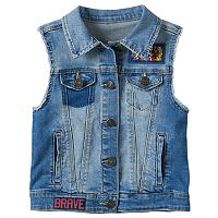 Girls 7-16 DC Comics Super Hero Girls Wonder Woman, Batgirl & Supergirl Patch Denim Vest
