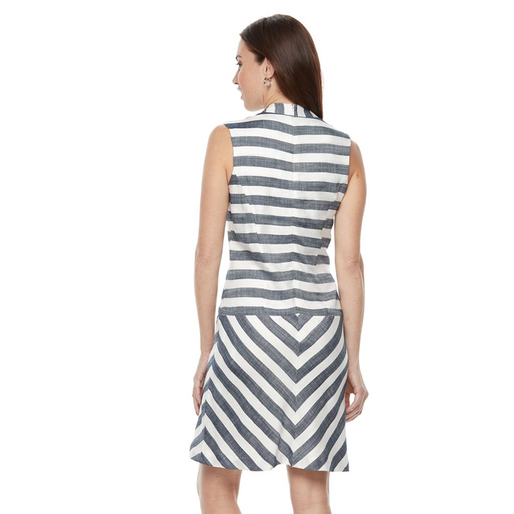 Women's Sharagano Striped Mockneck Fit & Flare Dress