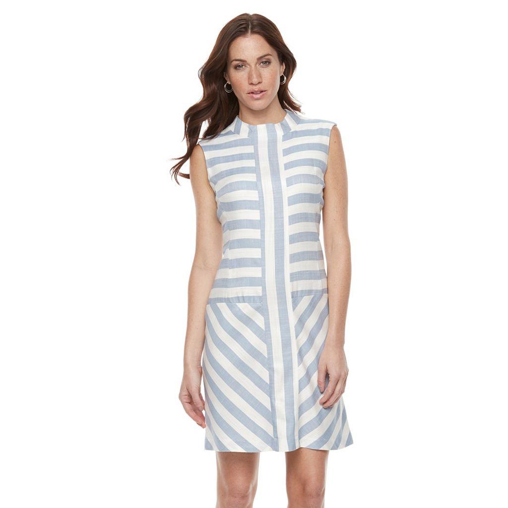 Women's Sharagano Striped Mockneck Fit & Flare Dress