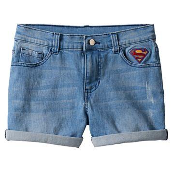 Girls 7-16 DC Comics Super Hero Girls Patch Jean Shorts