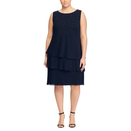 Plus Size Chaps Tiered Georgette Shift Dress