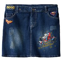 Girls 7-16 DC Comics Super Hero Girls Patch Jean Skirt