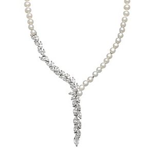 Simply Vera Vera Wang Sterling Silver Dyed Freshwater Cultured Pearl & Lab-Created White Sapphire Y Necklace