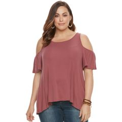Plus Size SONOMA Goods for Life™ Ribbed Cold-Shoulder Tee