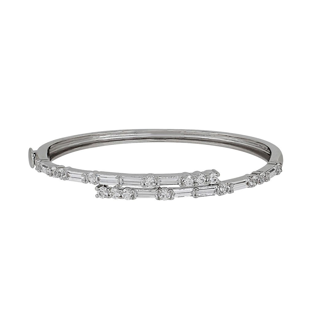 Simply Vera Vera Wang Sterling Silver Lab-Created White Sapphire Bypass Bangle Bracelet