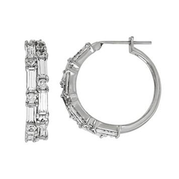 Simply Vera Vera Wang Sterling Silver Lab-Created White Sapphire Hoop Earrings