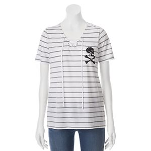 Disney's Pirates of the Caribbean: Dead Men Tell No Tales Juniors' Skull Lace-Up Graphic Tee