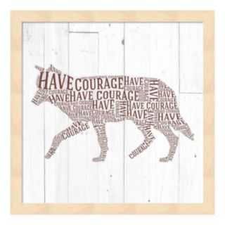 """""""Have Courage"""" Wolf Framed Wall Art"""