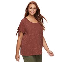 Plus Size SONOMA Goods for Life™ Embroidered Tie-Sleeve Tee