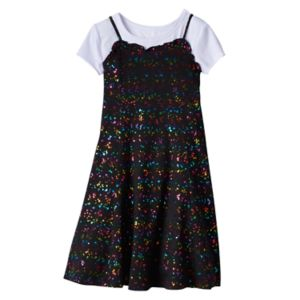 Girls 7-16 SO® Tee & Patterned Ruffle Dress Set