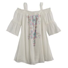 Girls 7-16 My Michelle Off Shoulder Bell Sleeve Printed Top