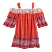 Girls 7-16 My Michelle Off Shoulder Lace Trim Bell Sleeve Printed Top