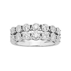 Sterling Silver 3/4 Carat T.W. Diamond Double Row Anniversary Ring
