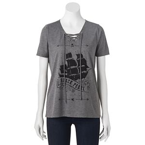 Disney's Pirates of the Caribbean: Dead Men Tell No Tales Juniors' Lace-Up Graphic Tee