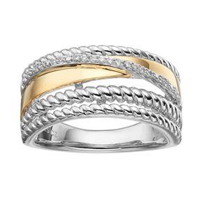 Two Tone Sterling Silver 1/10 Carat T.W. Diamond Crisscross Ring