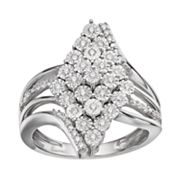 Sterling Silver 1/4 Carat T.W. Diamond Waterfall Ring
