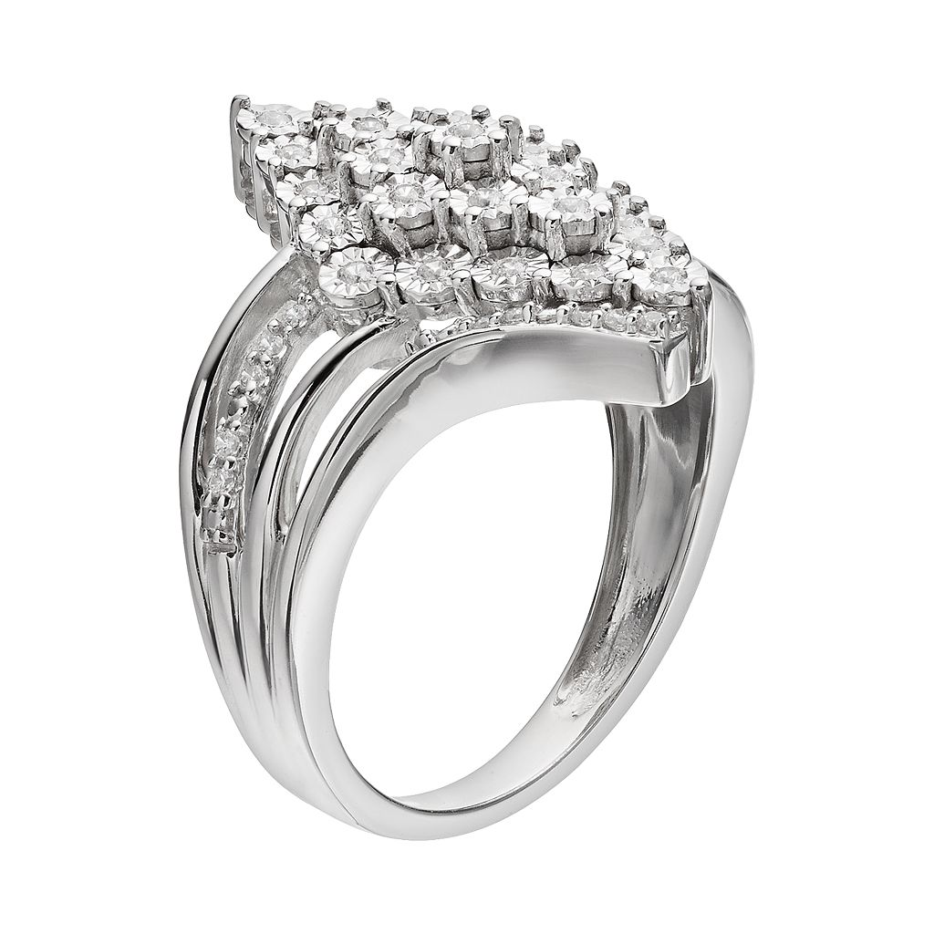 Sterling Silver 1/4 Carat T.W. Diamond Waterfall Ring