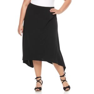 Plus Size French Laundry Shark-Bite Midi Skirt