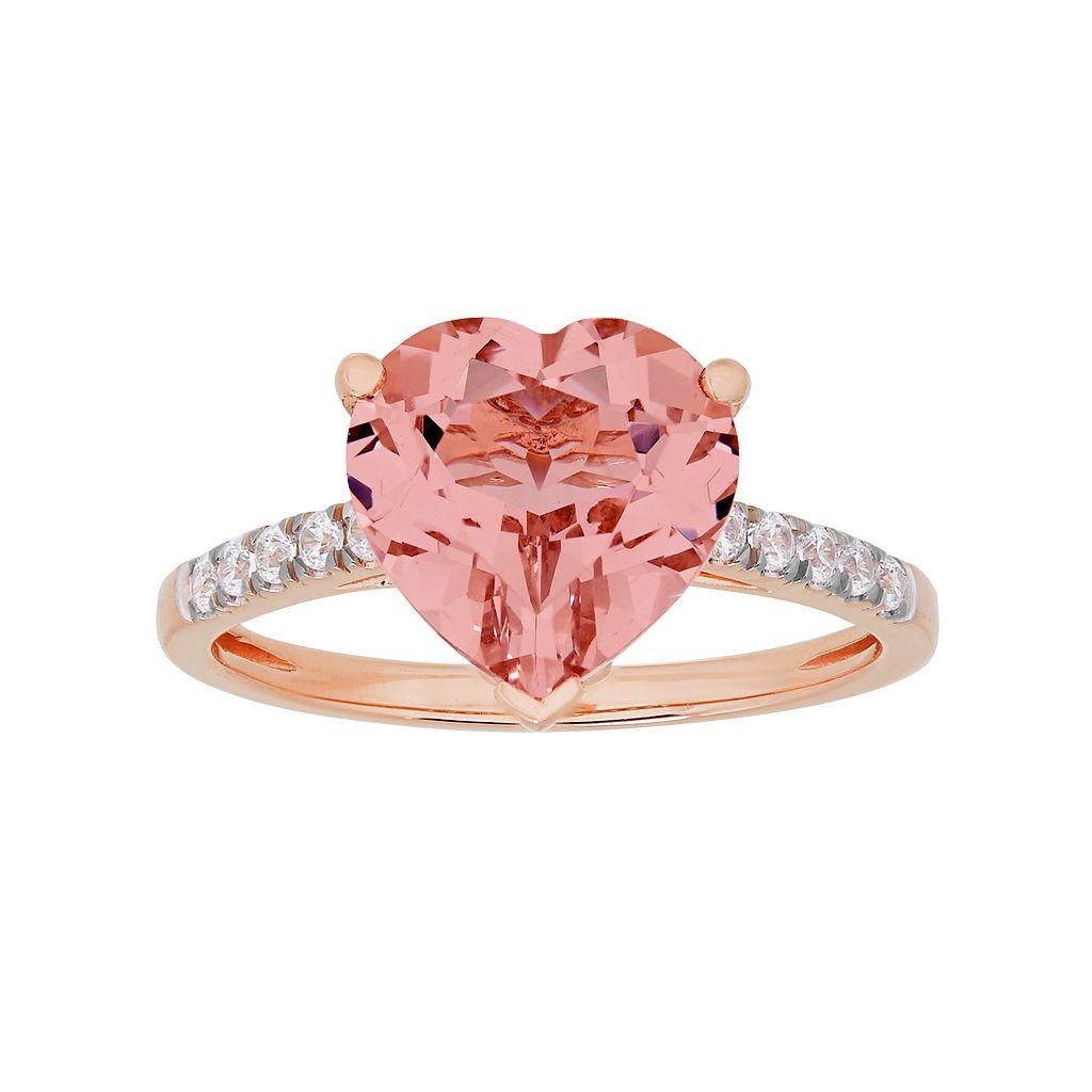 David Tutera 14k Rose Gold Over Silver Simulated Morganite & Cubic Zirconia Heart Ring
