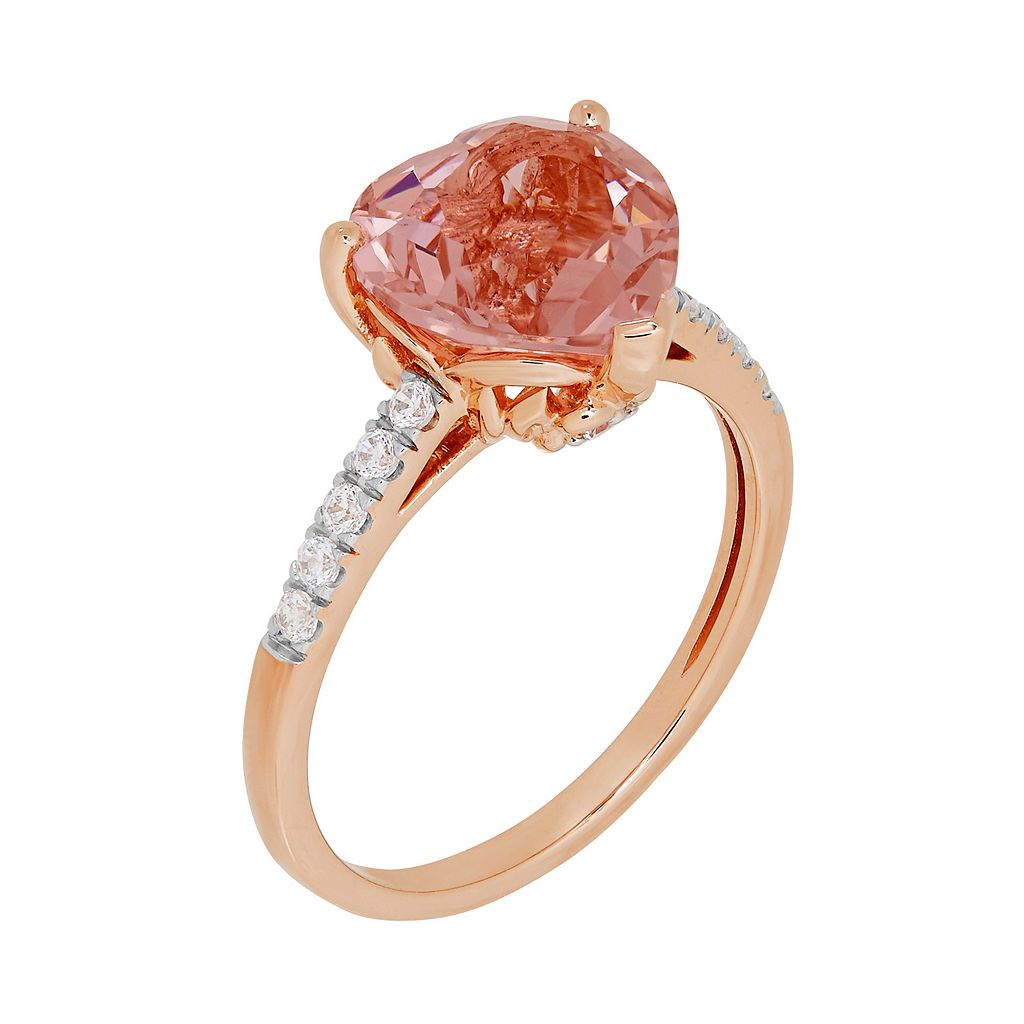 David Tutera 14k Rose Gold Over Silver Simulated Morganite & Cubic Zirconia Heart Ring