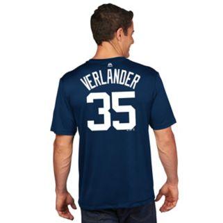 Men's Majestic Detroit Tigers Justin Verlander Player Name and Number Tee