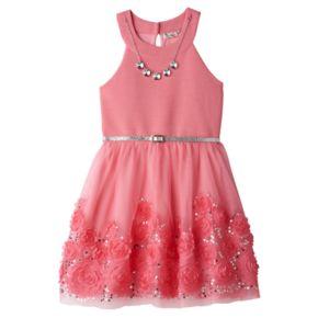 Girls 7-16 Knitworks Coral Soutache Flower Border Skater Dress
