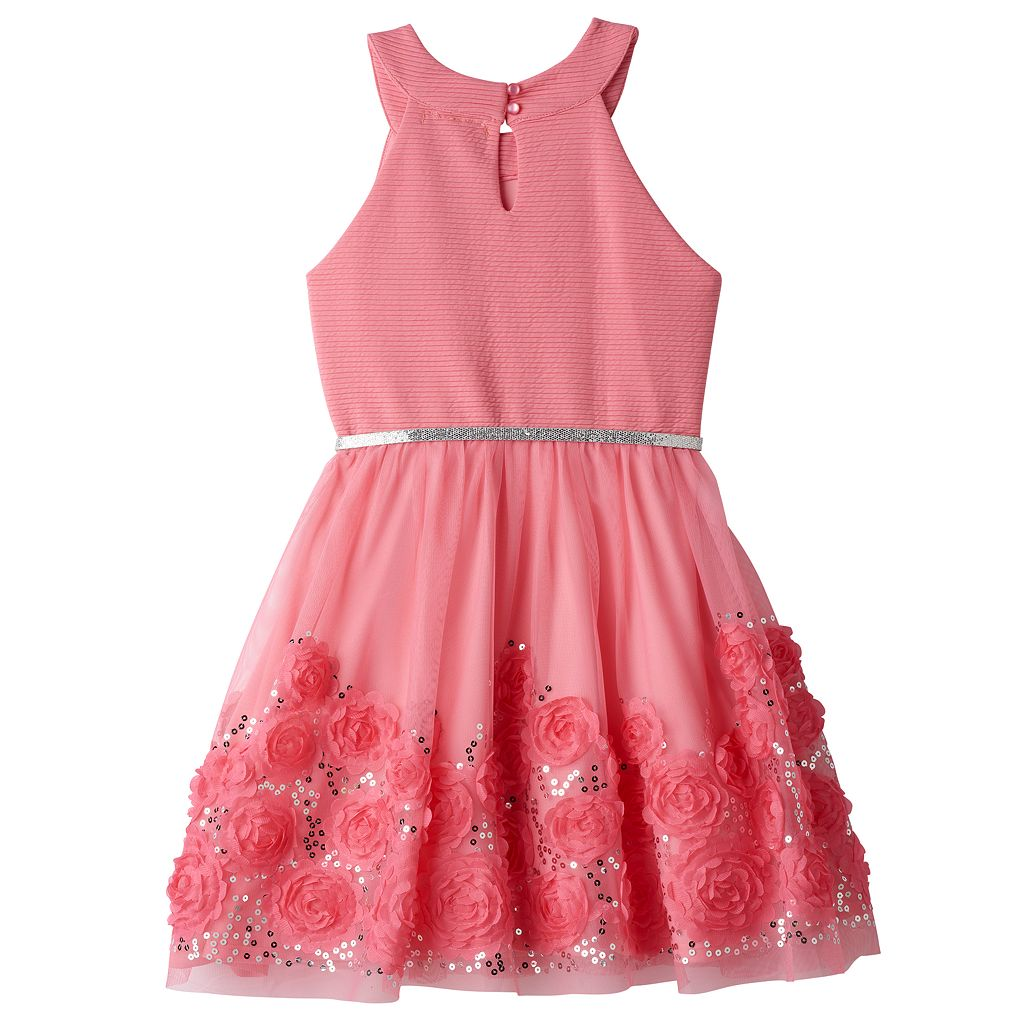 Girls 7-16 Knitworks Coral Soutache Flower Border Skater Dress
