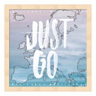 """World Traveler """"Just Go"""" Framed Wall Art"""