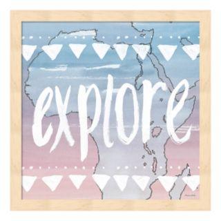 """World Traveler """"Explore"""" Framed Wall Art"""