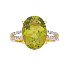 David Tutera 14k Gold Over Silver Simulated Peridot & Cubic Zirconia Oval Ring