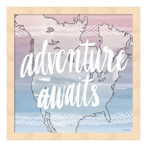 """World Traveler """"Adventure Awaits"""" Framed Wall Art"""