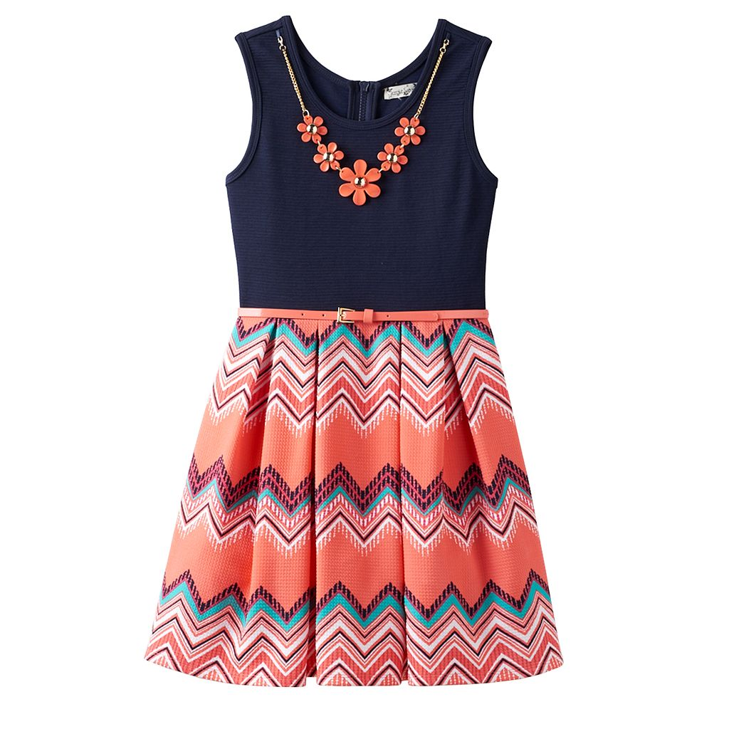 Girls 7-16 Knitworks Chevron Printed Skirt Skater Dress with Necklace