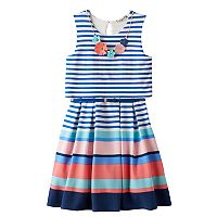 Girls 7-16 Knitworks Mixed Stripe Popover Skater Dress with Necklace