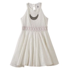 Girls 7-16 Knitworks Lace Halter Skater Dress with Necklace