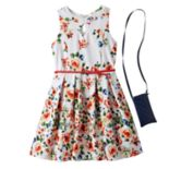 Girls 7-16 Knitworks Floral Patterned Textured Skater Dress & Crossbody Purse Set