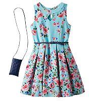Girls 7-16 Knitworks Floral Patterned Textured Skater Dress & Crossbody Purse Set