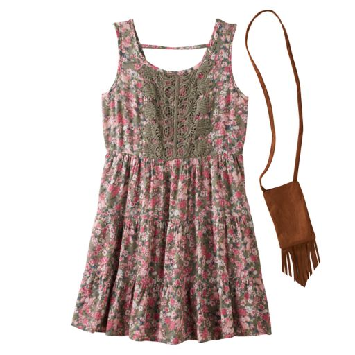 Girls 7-16 Knitworks Crochet Front Tiered Floral Dress with Crossbody Purse