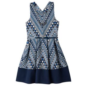 Girls 7-16 Knitworks Printed Bow Back Belted Skater Dress with Necklace