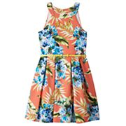 Girls 7-16 Knitworks Floral Textured Skater Dress with Necklace