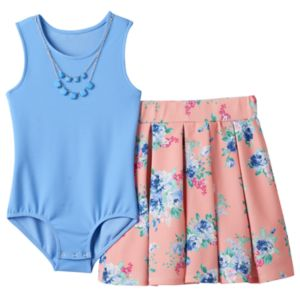 Girls 7-16 Knitworks Sleeveless Bodysuit & Floral Skater Skirt with Necklace