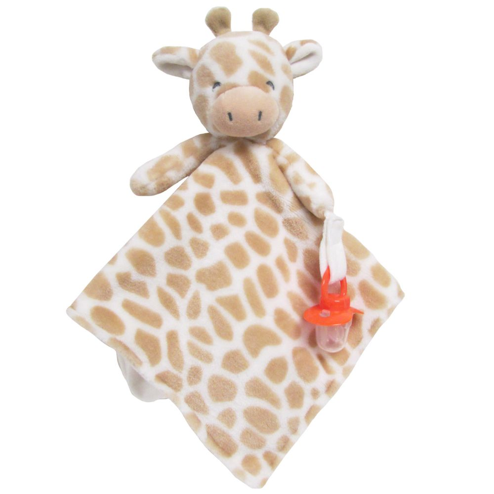 Carter S Giraffe Plush Security Blanket With Pacifier Clip